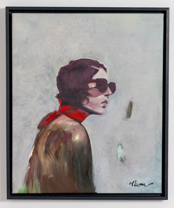 """Öl auf Leinwand gemalte Werk """"Schlaflos"""", Frauenporträt, Frau im Bild trägt große Sonnenbrille und ein rotes Tuch"""