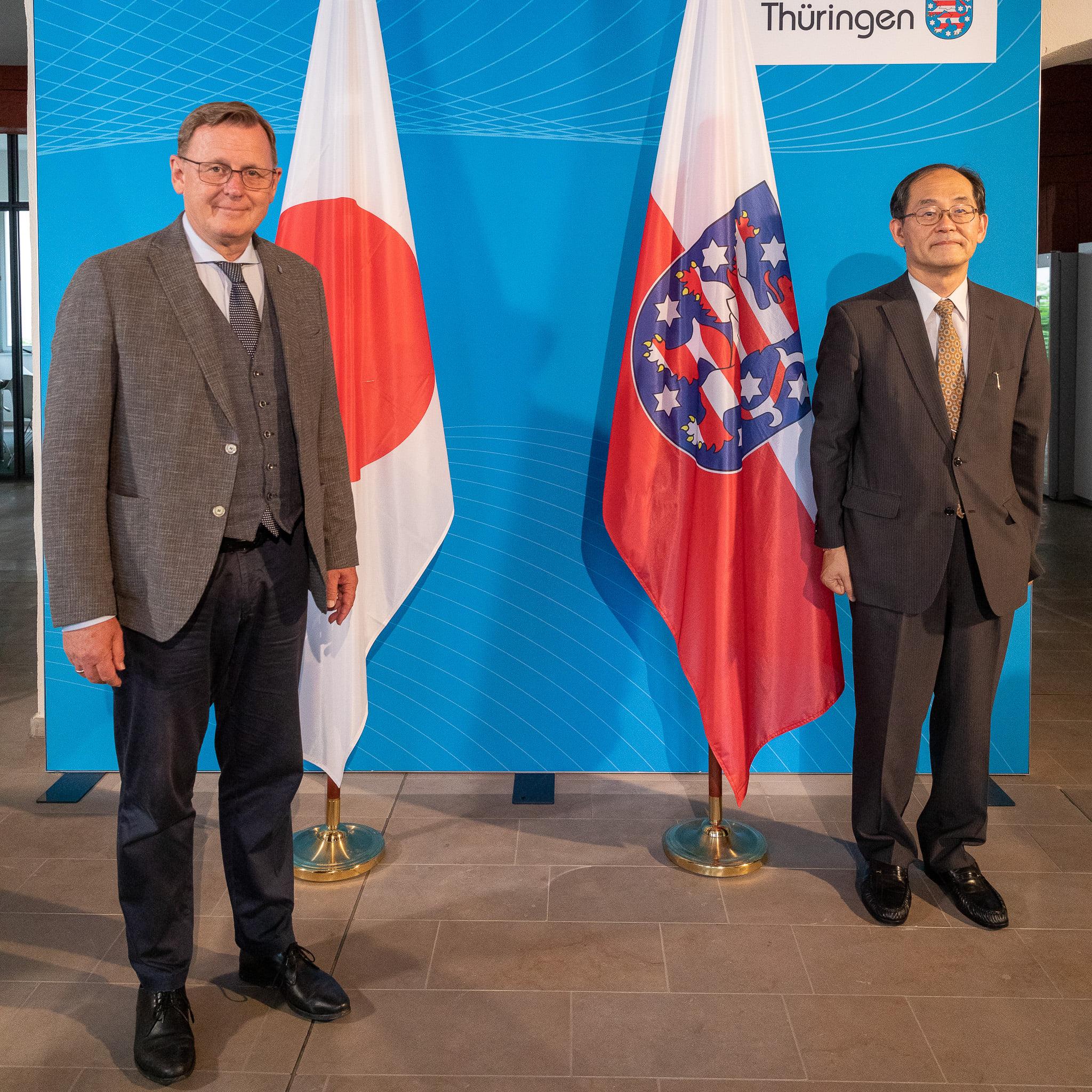 Ministerpräsident Bodo Ramelow beim Empfang des japanischen Botschafters Hidenao Yanagi in der Thüringer Staatskanzlei