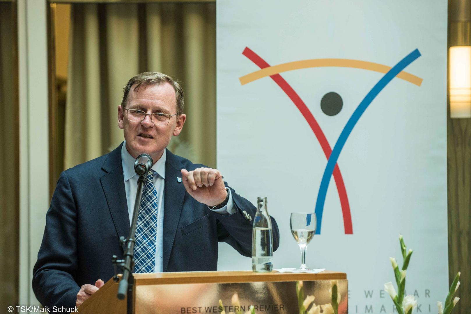 Weimarer-Dreieck-Preis für zivilgesellschaftliches Engagement in Weimar im Bild Ministerpräsident Bodo Ramelow